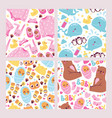 bashower seamless pattern set cute kids vector image