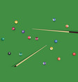 billiard stick and pool balls on green billiard vector image vector image