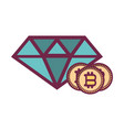 bitcoins and diamond vector image