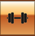 black dumbbell icon isolated on gold background vector image
