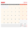 calendar planner template for may 2019 week vector image vector image