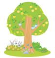 cartoon apple tree with cute animals vector image vector image