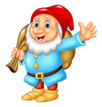 cartoon happy dwarf carrying sack vector image vector image