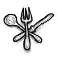 cartoon image of spoon fork knife icons vector image