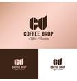 cd monogram logo coffee drop vector image vector image