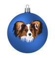 christmas ball with of the dog vector image vector image