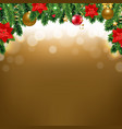 christmas border with poinsettia and fir tree vector image vector image