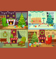 christmas room interior xmas home decoration vector image vector image