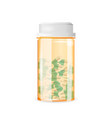 closed pill bottle of capsule-shaped tablets vector image vector image