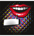 Comic lips smile speech bubble pop art on dot