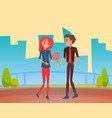 couple in love on date walking with flowers vector image vector image
