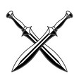 crossed medieval swords on white background vector image vector image