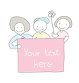 cute children hand drawn holding board with flower vector image vector image