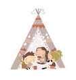 cute little children play in a tent teepee vector image