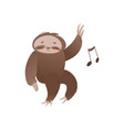 cute sleepy sloth with closed eyes relaxing and vector image vector image
