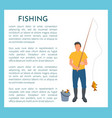 fisherman with fishing rod and fish icon vector image vector image