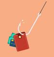 fishhook with wallet vector image vector image