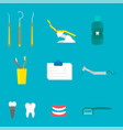 flat health care dentist medical tools medicine vector image vector image