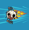 football is flying like a meteor competition vector image vector image