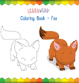 Fox coloring book educational game vector image