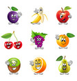 Funny cartoon fruits icons set vector image