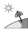 grayscale island with sun weather and umbrella vector image vector image
