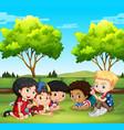 happy children in the park vector image vector image
