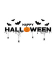 happy halloween background text with pumpkin bats vector image vector image