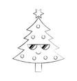 kawaii christmas tree pine decoration celebration vector image vector image