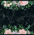 luxury template with pink flowers on black marble vector image vector image