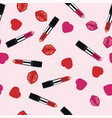 makeup pattern lipsticks hearts and lips vector image