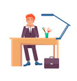 male sitting workplace and smiling office worker vector image