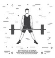 man doing heavy deadlifts in sumo position vector image