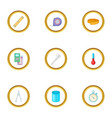 measuring device icons set cartoon style vector image vector image