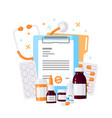 medicine bottles concept in flat style vector image