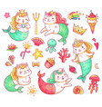 mermaid kitty cat cartoon characters underwater vector image