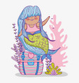 mermaid woman in the coffer with seaweed plants vector image vector image
