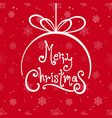 merry christmas ball with red snowflake background vector image vector image