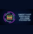 neon glowing burger sign in circle frames with vector image vector image