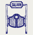 Old western swinging saloon doors vector image