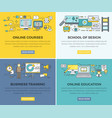 online education courses web banners set vector image vector image