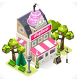 Pastry Shop City Building 3D Isometric vector image vector image
