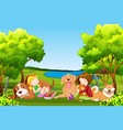 people and pet at the park vector image vector image