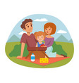 picnic setting with fresh food hamper basket vector image vector image