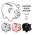 Piggy bank icon in cartoon style isolated on white