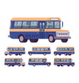 retro bus orange-blue set vector image vector image