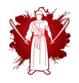 samurai composition with swords cartoon graphic vector image