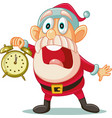 santa claus with clock in big hurry for christmas vector image vector image