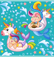 seamless pattern cute mermaids and inflatable vector image