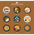 set of japanese food flat design vector image